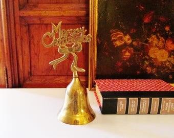 Merry Christmas Dinner Bell, Brass Holiday Bell, Holiday Decor. 1994 Christmas Bell, Brass Merry Christmas Bell