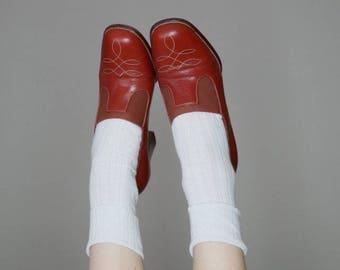 70s western slip on heels size 9