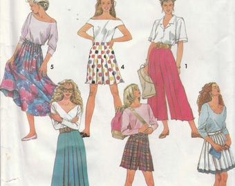 Split Skirt Pattern Pleated Skirt 2 Lengths Misses Size 6 - 8 - 10 uncut Simplicity 7825