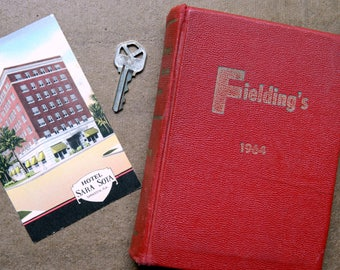 1964 Fielding's Travel Guide to Europe. Temple Fielding. Lombard C. Jones. European Reference Book. Photo Prop. Red Book Decor.