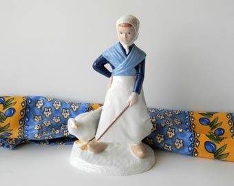 Handmade Ceramic Figurine Statue. Village Maiden. Shepherdess Girl. Vintage Table Decoration. Home Accent. Country French Farmhouse Decor.