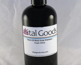 ON SALE Dreadlock shampoo Neem Oil Black Soap Shampoo Fresh Citrus Blend 12oz (VEGAN)