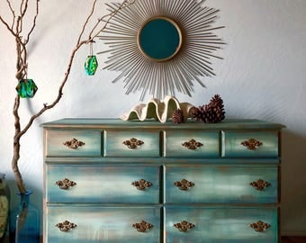Beautiful Shades of Green Dresser with Copper Accents