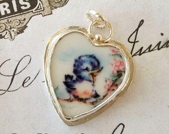Broken China Jewelry Charm Happy Blue bird of Happiness Charm Pendant