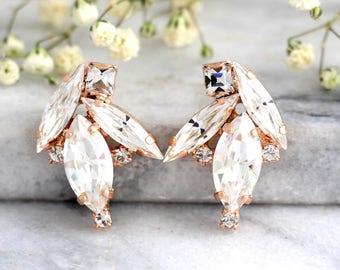Bridal Earrings, Bridal Crystal Earrings, Swarovski Bridal Earrings, Gift for her, Bridal Cluster Earrings, Bridesmaids Earrings