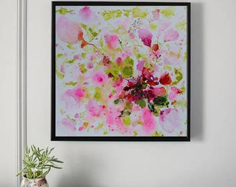 red,pink,light green,abstract flower painting,ORIGINAL painting,Painting,art painting, canvas art,flower,rose,floral,ORIGINAL  painting