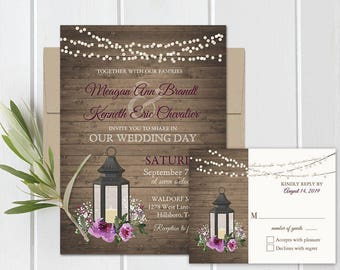 Rustic Purple Floral Watercolor Wedding Invitation Set Lantern Wedding Invitations Printable Set Country Wedding Cranberry Burgundy Template