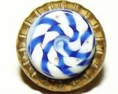 Antique Button ~ Metal Button ~ Vest Button ~ Glass in Metal Button
