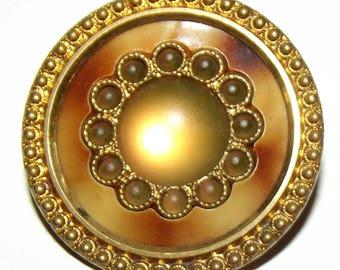 Antique Button ~ Saphiret Glass Button ~ Glass in Metal Button~ Celluloid Button