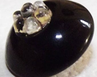 Antique Button ~ Black Glass Charm String Button w/ Clear Glass Coronet Top