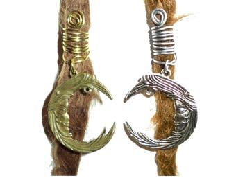Crescent moon dread bead, dreadlock jewelry