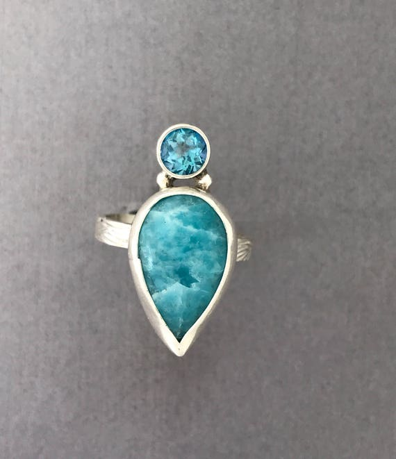Larimar and mystic topaz ring  size 10