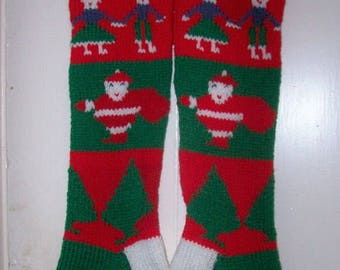 Hand Knit Christmas Stocking Old Pattern Children  Santas and Trees Personalized: Custom Order for Christmas 2017 .