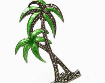 Art Deco Enamel Palm Tree Brooch Pin Sterling Marcasite Tropical