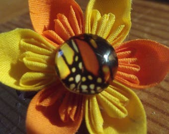 Pair Extra Small Yellow and Orange Butterfly Wing Fabric Origami Flower Hair Accessories