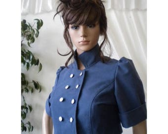 Elegant ladies short jacket - blue bolero