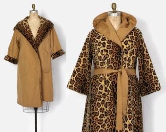 Vintage 50s Reversible Coat / 1950s Faux Leopard Print Velvet & Camel Tan Belted Raincoat with Hood