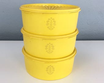 Vintage Tupperware Seal Tight Containers Yellow Set of Three