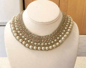 Vintage Pearl Mesh Necklace, Prom Jewerly, Unique Necklace, Gift for Mom