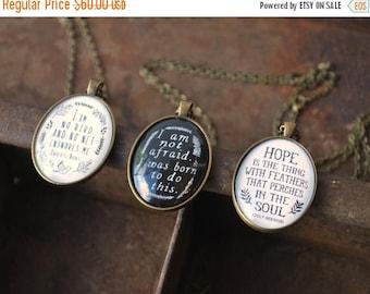 SUMMER SALE Inspirational Necklace Set - Charlotte Bronte, Emily Dickinson, Joan of Arc - Jane Eyre Quote - I am no bird - I am not afraid -