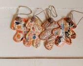 Set of 4 vintage quilt oak leaf gift tags, with acorn caps, coaster set, scrapbooks, bowl fillers, banners, autumn decor, primitive, rustic