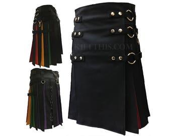 Interchangeable Black Diversity Pride Rainbow Flash Pleats Cargo Kilt Custom Fit Adjustable Many Options