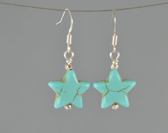Galaxy Turquoise Magnasite Star Earrings