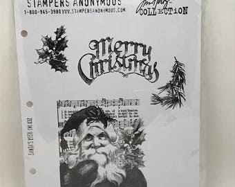 Tim Holtz Cling Stamps Santa's Wish Christmas Stamp Set by Stampers Anonymous, Tim Holtz, Christmas Stamps, Santa's Wish, Stampers Anonymous