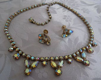 Vintage jewelry set,Gustave Sherman AB crystal demi parure, necklace, clip-on earrings,collectible jewelry