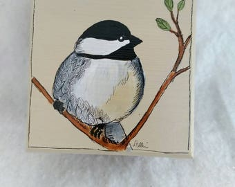 Handpainted chickadee jewelry box