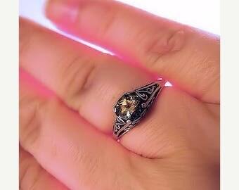 Summer time Sale Event Birthstone Sterling Silver Filigree Ring handmade purple amethyst yellow citrine blue white opal topaz fine jewelry s