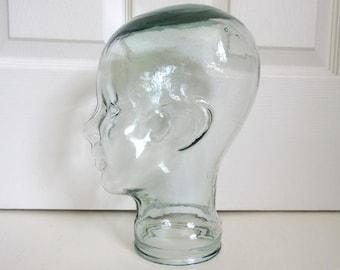 "Glass Mannequin Head, 11"" Vintage Hat Display"