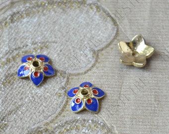6 pcs of 13 mm Enamel Golden metal flower bead cups,beadcap findings,beads,findings beads