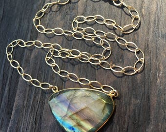 Unique labradorite necklace, multicolored labradorite and gold necklace