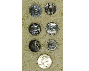 Silver Antique Button Lot 6pcs. Vintage Sewing Button Viking Ship Moose B627