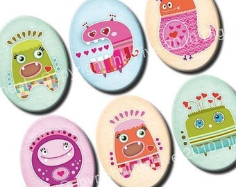 30x40 mm ovals Love Monsters. Images for cabochons, cameos, pendants. Valentines modern digital download. 30x40 mm mod collage sheet