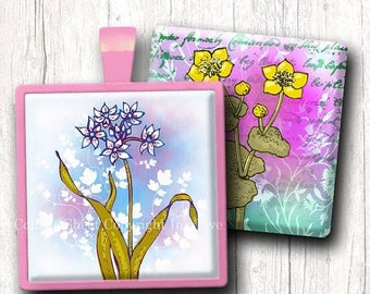 Meadow Flowers 1 inch squares. Digital collage sheet. Printables