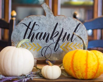 Thankful Metal Pumpkin Decor, Fall Decor, Thankful, Decorated Pumpkin, Table Decor, Shelf Decor, Rustic Fall Pumpkin Decor