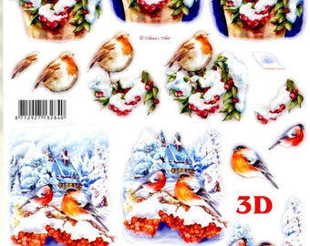 10-sheet 3d pre-cut ara and Parrot