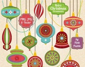 CIJ SALE Retro Christmas Ornament Clipart Clip Art, Vintage Christmas Decorations Clipart Clip Art Vectors - Commercial Use