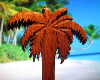 Hair Stick - Palm Tree Dagger in Mahogany Wood