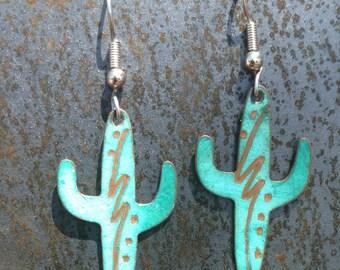 Cactus Jewelry, Cactus Earrings, Earrings, Southwestern Jewelry, Southwestern Earrings, Turquoise earrings, plants, garden, Dangle Earrings