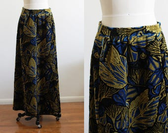 70's Tapestry Skirt / Psychedelic / Brocade / High Waisted M L