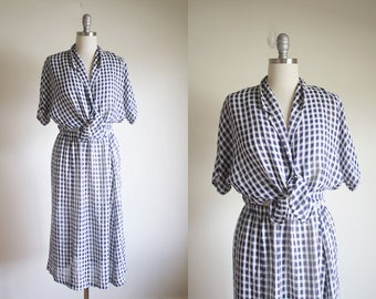 Vintage Gingham Skirt Set / Navy and White / High Fashion Modern and Minimal / S / M