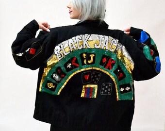 SALE Vintage Sequin Jacket Black Size Large XL with Poker Las Vegas Casino // Vintage Black Sequin Jacket Black Jack Gambeling Pop Art By Mo