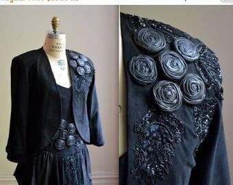 SALE 80s Vintage Black Suede Leather Jacket Size Medium Cropped Beaded Sequin Leather Jacket// Vintage Black Leather Bolero Suede