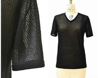 SALE Vintage 90s Black Tee Shirt Size Large 90s Minimalist Shirt Sheer Mesh Honeycomb 90s Club Shirt