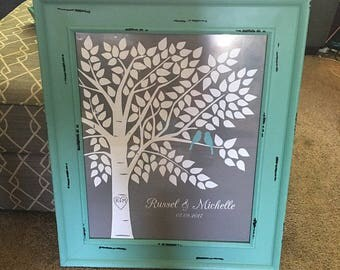 Wedding Guest Book Tree, Guest Book Tree, Teal Guest Book, Wedding Guestbook Blue, - 16x20-150 Signature Keepsake Guestbook Alternative