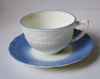 Vintage Pyrex Corning  Blue Glass Tea Cup Set, Vintage Blue Macbeth Evans Tea Cup and Saucer,  Blue Teacup Saucer Set, Glass Cup and Saucer