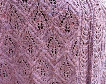 Knit Shawl Pattern:  Nagota Cable Lace Shawl Knitting Pattern